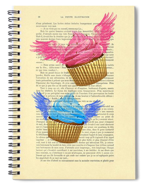 Pink And Blue Cupcakes Vintage Dictionary Art Spiral Notebook