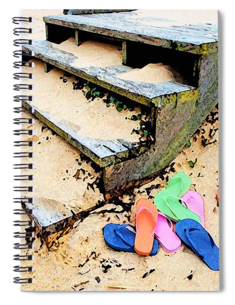 Pink And Blue Flip Flops By The Steps Spiral Notebook