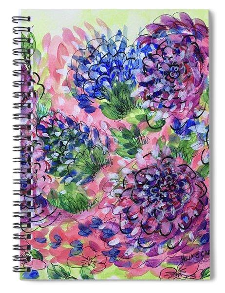Pink And Blue Flower Flurry Spiral Notebook