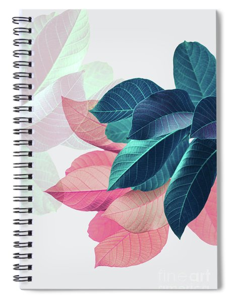 Pink And Blue Leaves Spiral Notebook