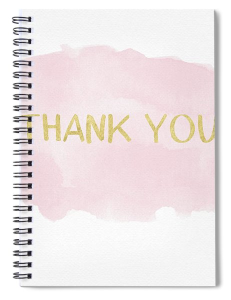 Pink And Gold Watercolor Wash Thank You- Art By Linda Woods Spiral Notebook