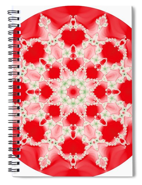 Pink And Green Watercolor Snowflake Fractal Spiral Notebook