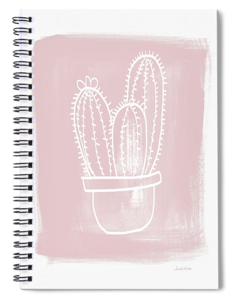 Pink And White Cactus- Art By Linda Woods Spiral Notebook by Linda Woods