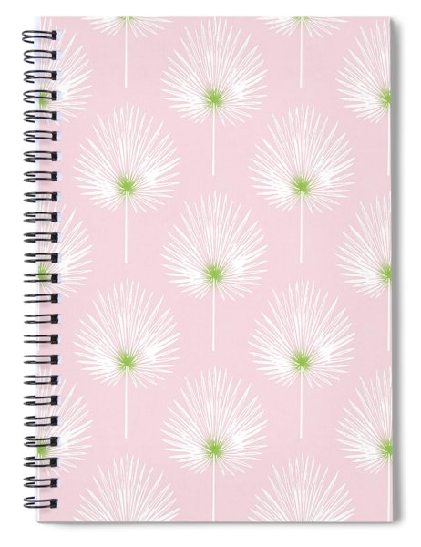Pink And White Palm Leaves- Art By Linda Woods Spiral Notebook