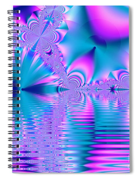Pink, Blue And Turquoise Fractal Lake Spiral Notebook