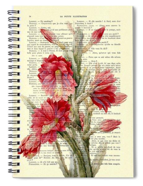 Pink Cactus Flower Vintage Book Page Collage Spiral Notebook