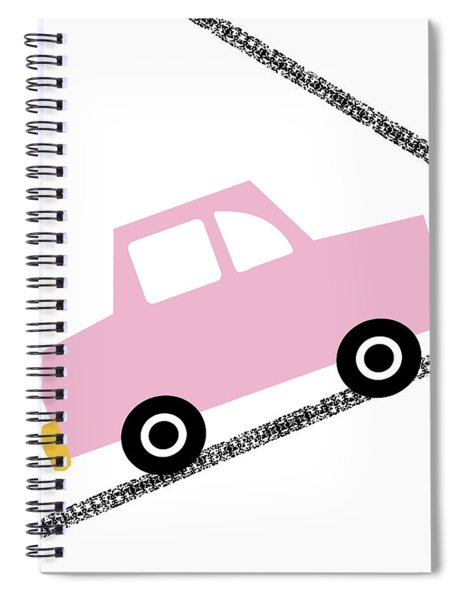 Pink Car On Road- Art By Linda Woods Spiral Notebook