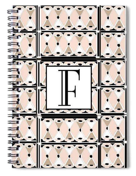 Pink Champagne Deco Monogram  F Spiral Notebook