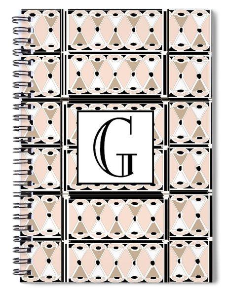 Pink Champagne Deco Monogram  G Spiral Notebook
