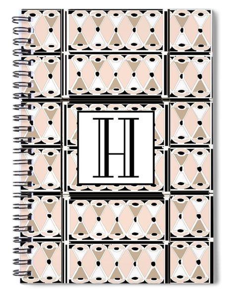 Pink Champagne Deco Monogram  H Spiral Notebook