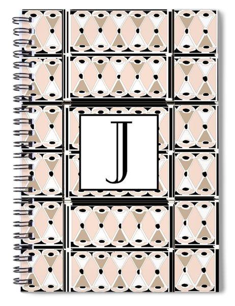 Pink Champagne Deco Monogram  J Spiral Notebook