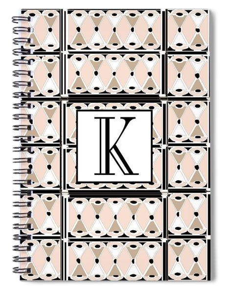 Pink Champagne Deco Monogram  K Spiral Notebook