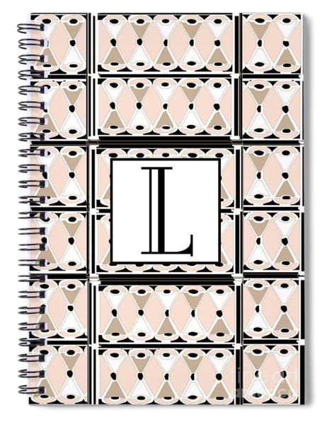 Pink Champagne Deco Monogram  L Spiral Notebook