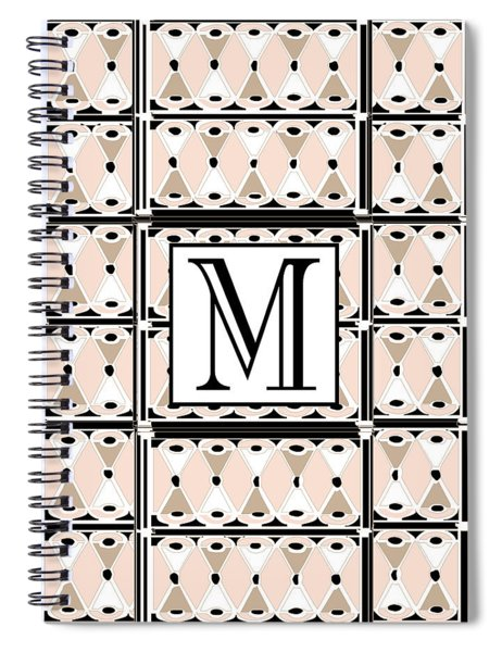 Pink Champagne Deco Monogram  M Spiral Notebook