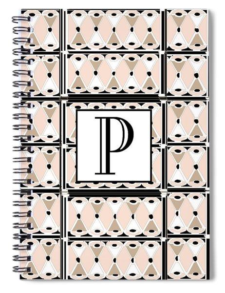 Pink Champagne Deco Monogram  P Spiral Notebook