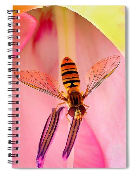 Pink Flower Fly Spiral Notebook