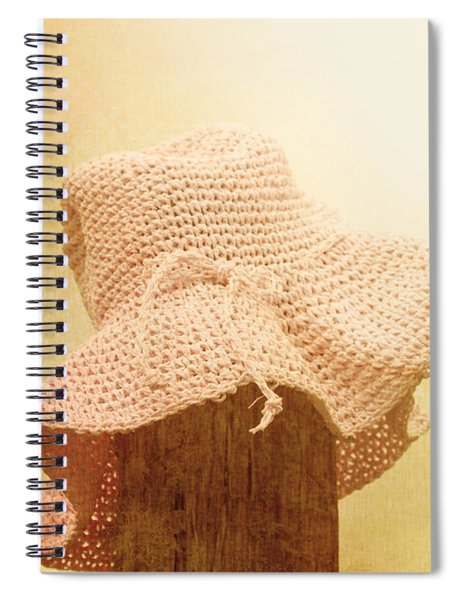 Pink Girls Hat On Farmyard Fence Post Spiral Notebook