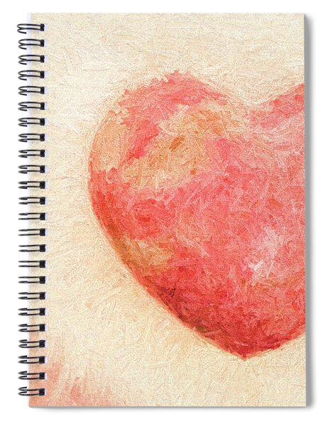Pink Heart Soft And Painterly Spiral Notebook
