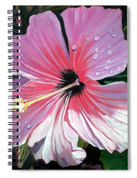 Pink Hibiscus With Raindrops Spiral Notebook