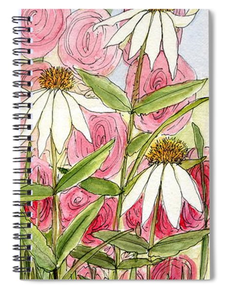 Pink Hollyhock And White Coneflowers Spiral Notebook