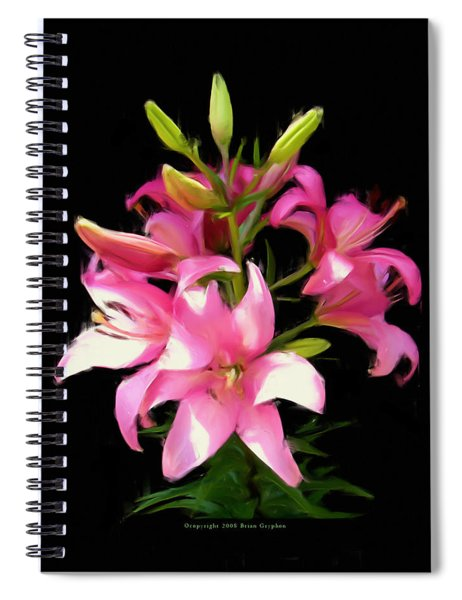 Spiral Notebook featuring the digital art Pink Lilies 22103g by Brian Gryphon