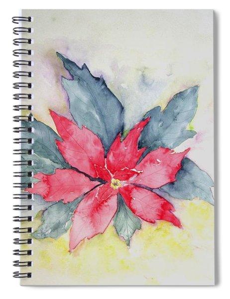 Pink Poinsetta On Blue Foliage Spiral Notebook