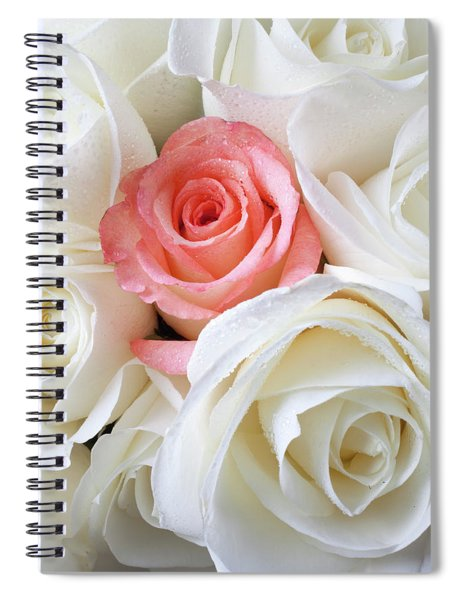 Pink Rose Among White Roses Spiral Notebook