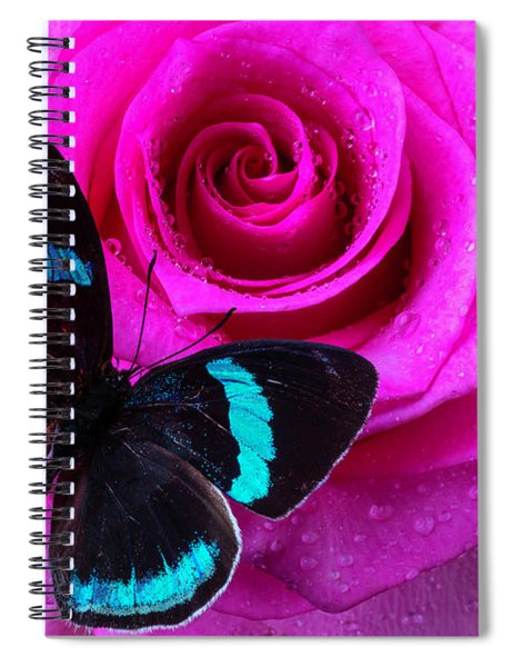 Pink Rose And Black Blue Butterfly Spiral Notebook