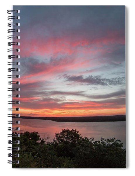 Pink Skies And Clouds At Sunset Over Lake Travis In Austin Texas Spiral Notebook