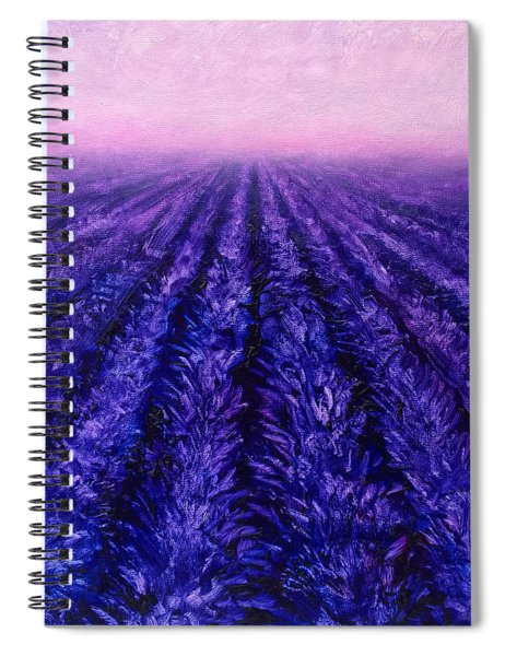 Abstract Lavender Field Landscape - Contemporary Landscape Painting - Amethyst Purple Color Block Spiral Notebook