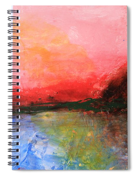 Pink Sky Over Water Abstract Spiral Notebook
