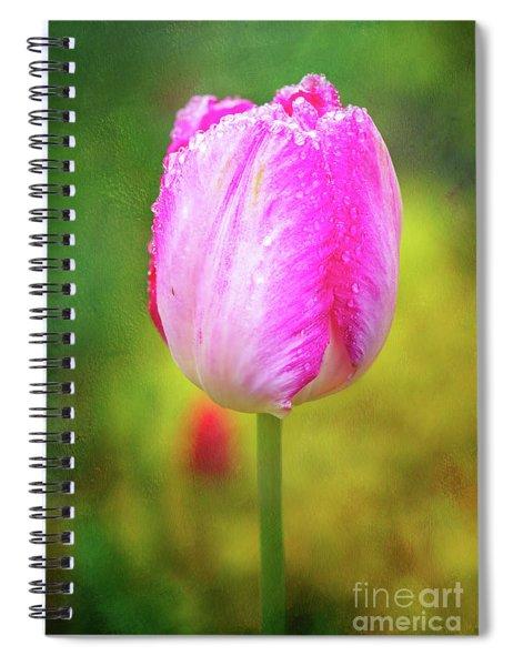 Pink Tulip In The Rain Spiral Notebook
