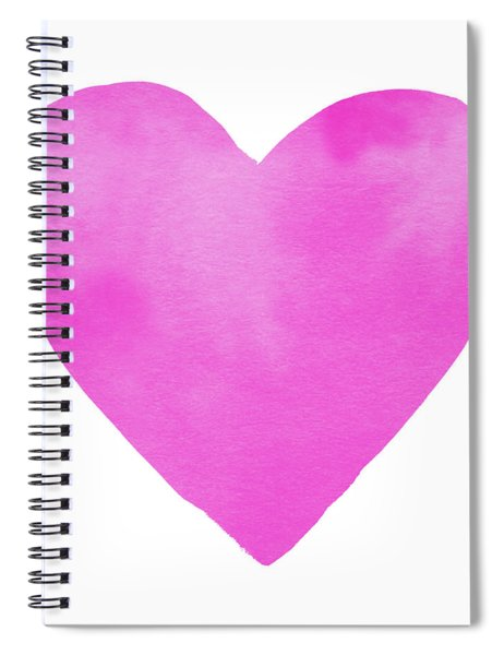 Pink Watercolor Heart- Art By Linda Woods Spiral Notebook