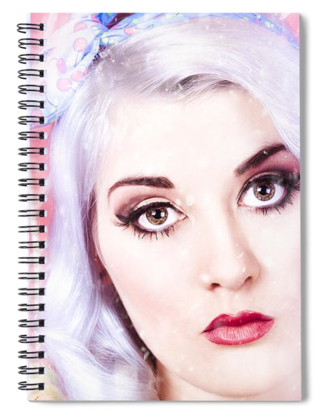 Pinup Girl With Dream Make-up And Hair Style Spiral Notebook
