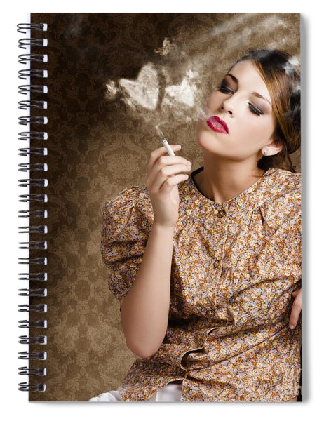 Pinup Portrait Of A Smoking Woman Blowing Hearts Spiral Notebook