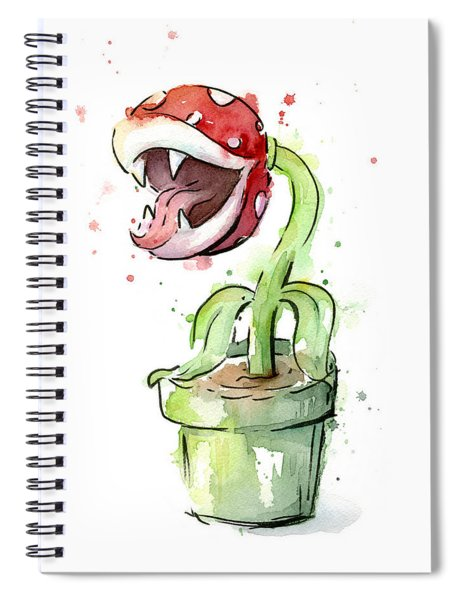 Piranha Plant Watercolor Spiral Notebook