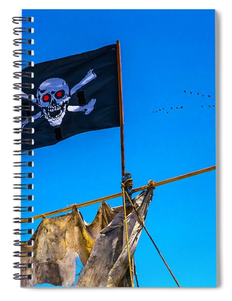 Pirate Flag And Moon Spiral Notebook