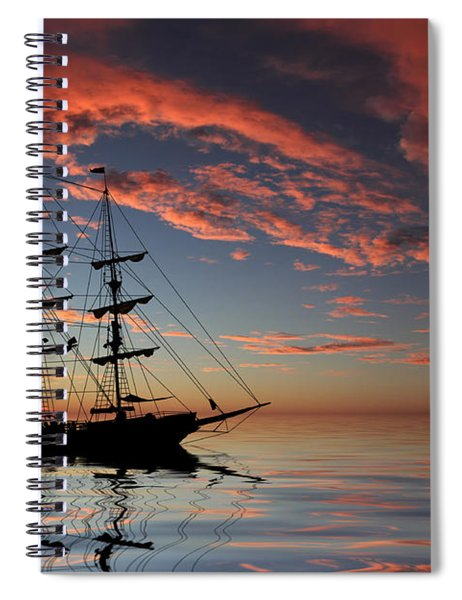 Pirate Ship At Sunset Spiral Notebook