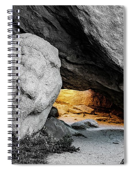 Pirate's Cave, Black And White And Gold Spiral Notebook