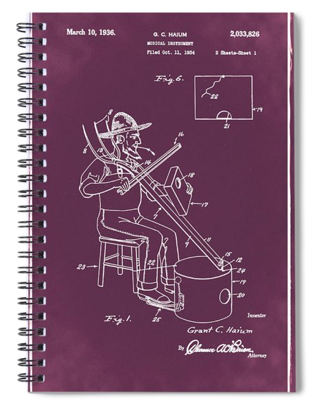 Pitch Fork Fiddle And Drum Patent 1936 - Red Spiral Notebook