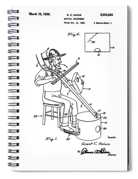 Pitch Fork Fiddle And Drum Patent 1936 - White Spiral Notebook