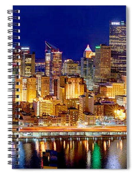 Pittsburgh Pennsylvania Skyline At Night Panorama Spiral Notebook