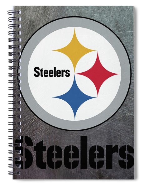 Spiral Notebook featuring the mixed media Pittsburgh Steelers On An Abraded Steel Texture by Movie Poster Prints