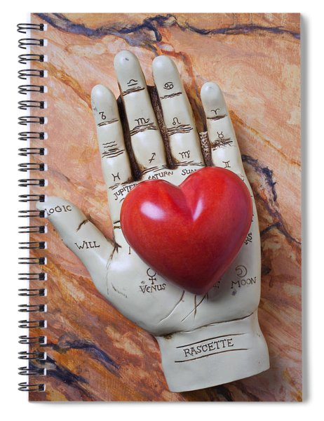 Plam Reader Hand Holding Red Stone Heart Spiral Notebook