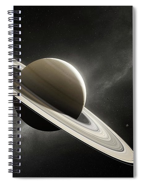Planet Saturn With Major Moons Spiral Notebook