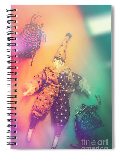 Play Act Of A Puppet Clown Performing A Sad Mime Spiral Notebook
