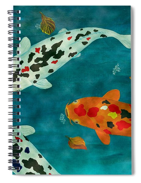 Playful Koi Fishes Original Acrylic Painting Spiral Notebook