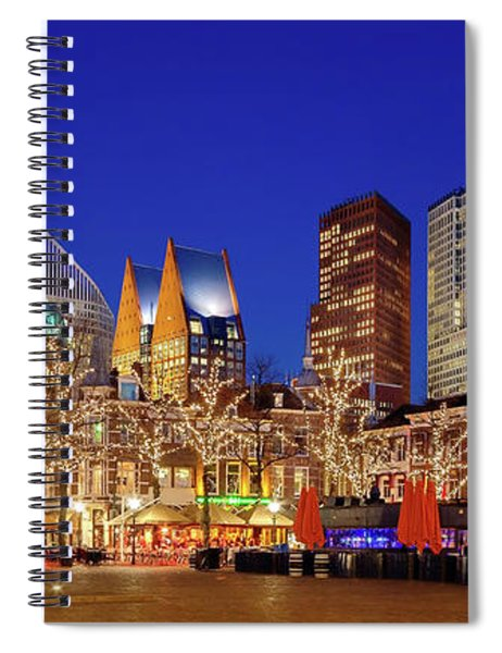Spiral Notebook featuring the photograph Plein At Blue Hour - The Hague by Barry O Carroll