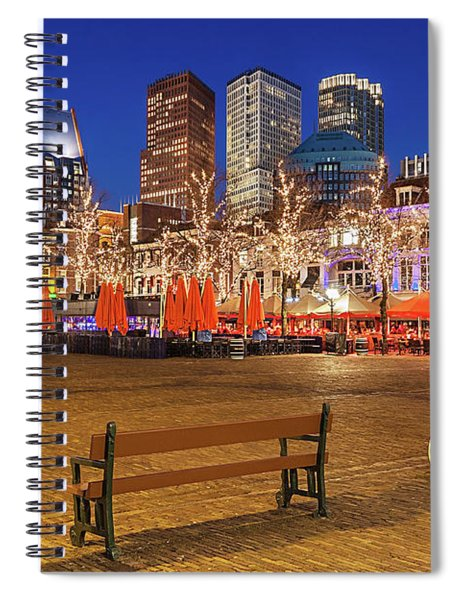 Spiral Notebook featuring the photograph Plein Square At Night - The Hague by Barry O Carroll