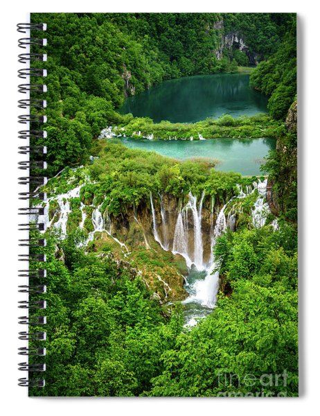 Plitvice Lakes National Park - A Heavenly Crystal Clear Waterfall Vista, Croatia Spiral Notebook